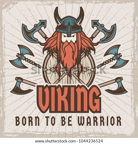 Template With Place For Your Text Barbarian And Viking Long Ship Shield