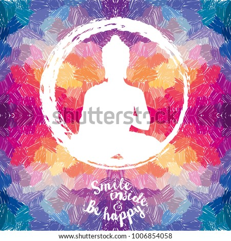 Poster with Buddha silhouette on artistic background, can be used for yoga studio, funky colors, vector illustration