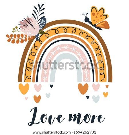 poster with cute rainbow and butterfly on white background - vector illustration, eps