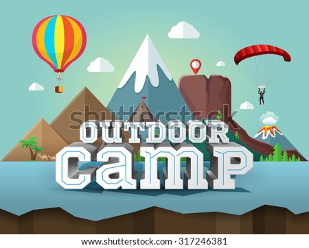 Poster with 3d text for outdoor camp.