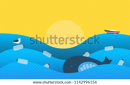 Poster with Ecological Theme: Plastic Pollution in the Ocean. The Whale with Plastic Bottles in Stomach, The Seabird sitting on Flowing Plastic Bottle. New Version.