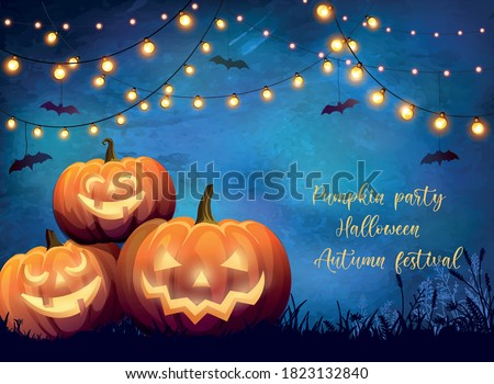 Poster with festive decorative lights and glowing pumpkins with scary faces. Autumn unusual illustration for party, halloween or festival