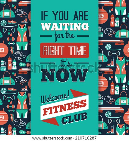 Poster with fitness Icons Vector illustration