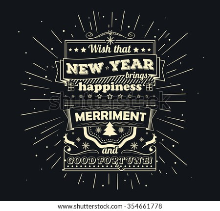 poster with greetings merry christmas and happy new year creative lettering greeting card with