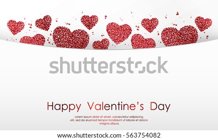 Poster with hearts of red confetti, sparkles, glitter and lettering Happy Valentines Day on white background. Wallpaper for Valentines Day. Vector illustration. #563754082