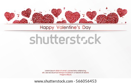Poster with hearts of red confetti, sparkles, glitter and lettering Happy Valentines Day on white background. Wallpaper for Valentines Day. Vector illustration. #566056453