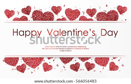 Poster with hearts of red confetti, sparkles, glitter and lettering Happy Valentines Day on white background. Wallpaper for Valentines Day. Vector illustration.