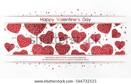 Poster with hearts of red confetti, sparkles, glitter and lettering Happy Valentines Day on white background. Wallpaper for Valentines Day. Vector illustration. #566732515
