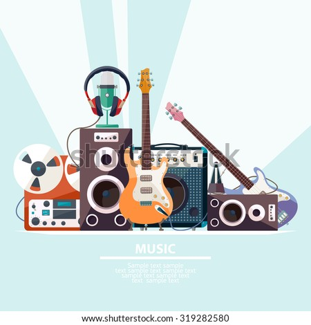 Poster with musical instruments. Flat design.
