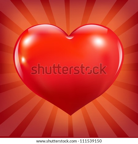 Poster With Red Heart And Sunburst, Vector Illustration