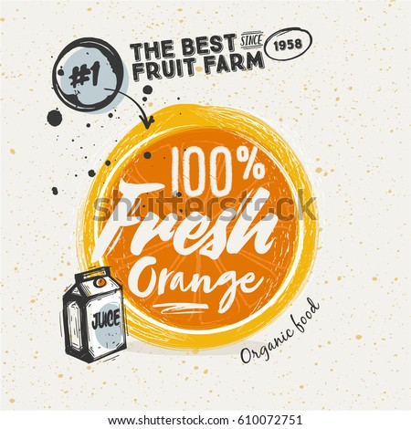 Poster with Sketched orange fruit. lettering Fresh Orange