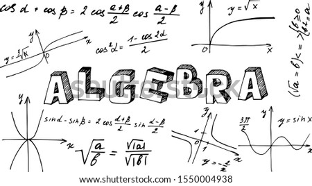Poster with the name of the school subject algebra in English. The inscription 'algebra' in the style of Doodle with icons on a white background. School subjects plaques. Foto stock ©