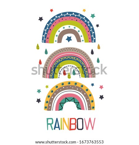 poster with three colorful rainbows   - vector illustration, eps