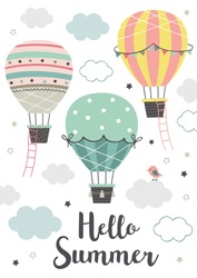 Poster with three Hot Air Balloon flying in the sky on white background. vector illustration.