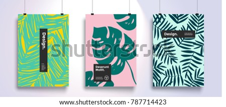 Poster with tropical flat geometric pattern. Cool colorful backgrounds. Applicable for Banners, Placards, Posters, Flyers. Eps 10 Vector template