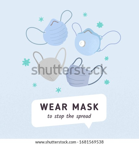 Poster with various ffp coronavirus mask for medical hospital. Prevention pandemic signboard, Covid-19 virus outbreak spread. Virus epidemis protection concept.