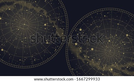 Poster witn star constellations southern and northern map. Gold signs and symbols of zodiac. Astrological celestial maps
