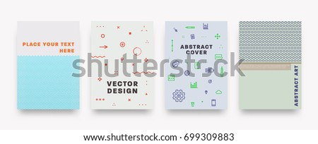 Posters and Placards templates set | Trendy 80s memphis geometric design