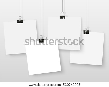 Posters on binder clips. White notepad paper templates. Realistic vector illustration. Empty mockup frames for your drawings, quotes or lettering.