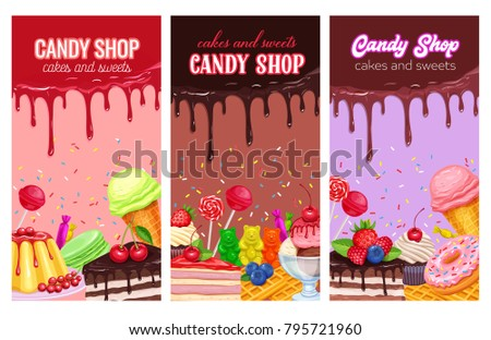 Stock Photo Posters template with confectionery and sweets. Dessert, lollipop, ice cream with candied, macaron and pudding. Donut and cotton candy, muffin, waffles, biscuits and jelly.