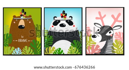 Posters with animals. Cartoon characters. Cartoon animals. Bear, panda, fawn