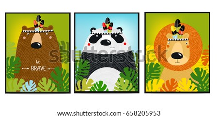 Posters with animals. Cartoon characters. Cartoon animals.  lion, bear, panda.