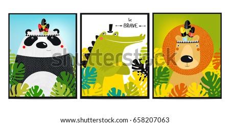 Posters with animals. Cartoon characters. Cartoon animals. Lion, crocodile, panda.