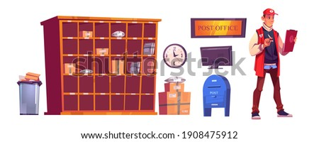 Postman and post office with parcels on shelves, cardboard boxes, computer and mailbox. Vector cartoon interior set of service for delivery and storage mail and orders isolated on white background Stockfoto ©