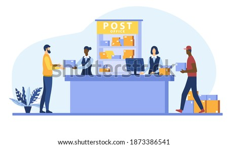 Postman giving parcel to customer in post office. Courier carrying boxes. Flat cartoon vector illustration for shipping, delivery, logistic service concept Сток-фото ©