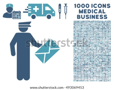 Postman icon with 1000 medical business cyan and blue vector design elements. Collection style is flat bicolor symbols, white background.