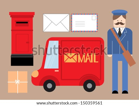 postman letter box delivery truck parcel letter vector illustration