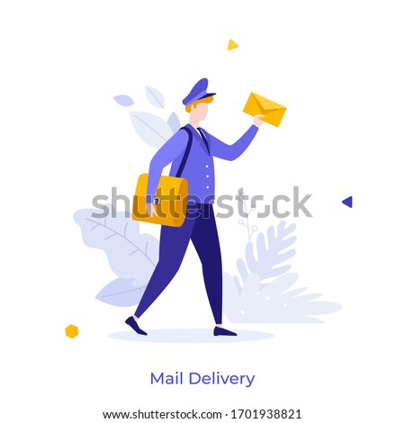 Postman, mailman, postal carrier or postie in uniform and cap carrying messenger bag and letter in envelope. Concept of express mail delivery service. Modern flat colorful vector illustration. Stockfoto ©