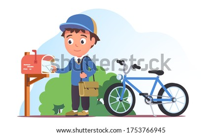 Postman putting envelope into post box. Postal worker man in uniform delivering letter by bicycle. Mail delivery service, transportation & mailman occupation. Flat style vector isolated illustration Stockfoto ©