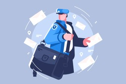 Postman with bag delivering letters vector illustation. Cartoon man in uniform holding mail flat style concept. Letters and mailman for profession and delivery service themes design