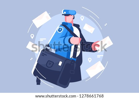 Postman with bag delivering letters vector illustation. Cartoon man in uniform holding mail flat style concept. Letters and mailman for profession and delivery service themes design Stockfoto ©