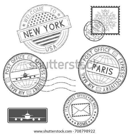 Postmarks and tourist stamps. Vector illustration isolated on white background