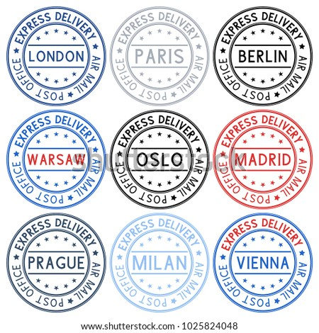 Postmarks. Collection of ink stamps with european cities. Vector illustration isolated on white background