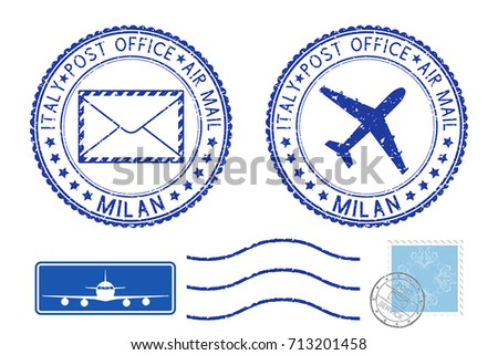 Postmarks MILAN and stamps. Blue postal elements. Vector illustration isolated on white background