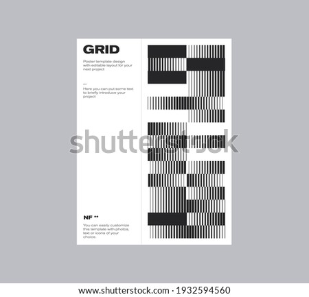 Postmodern graphic design of A4 size vector cover mockup created in modernism and minimalistic brutalism style, useful for poster art, magazine front page, decorative print, web banner artwork. Stock fotó ©