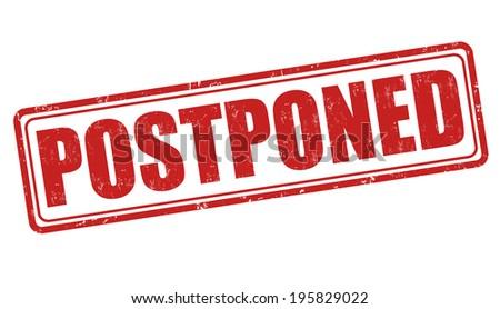 Postponed grunge rubber stamp on white background, vector illustration Stockfoto ©