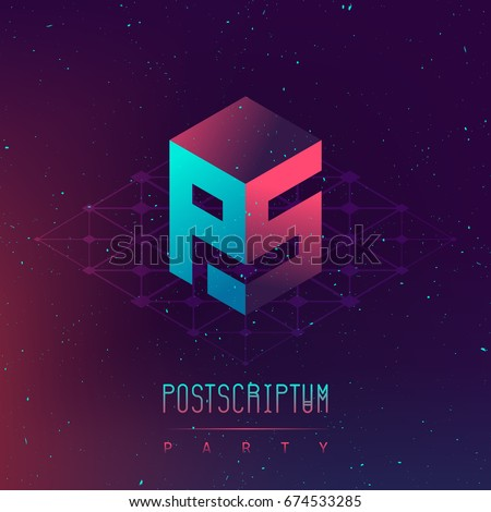 Postscriptum night party - Electronic music fest and electro space poster. Abstract gradients music background. Club party invitation flyer with letters PS