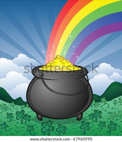 pot of gold in a shamrock field