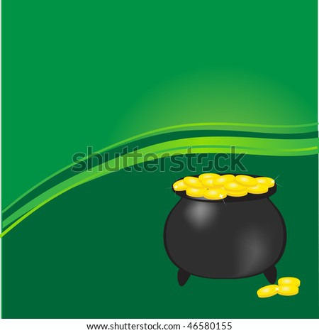 Pot with gold coins. Vector illustration. - stock vector