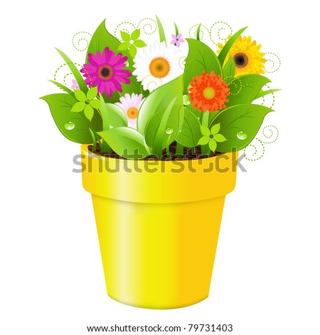 Pot With Grass And Flowers, Isolated On White Background, Vector Illustration