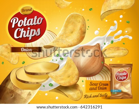 potato chips advertisement, onion cream flavor 3d illustration