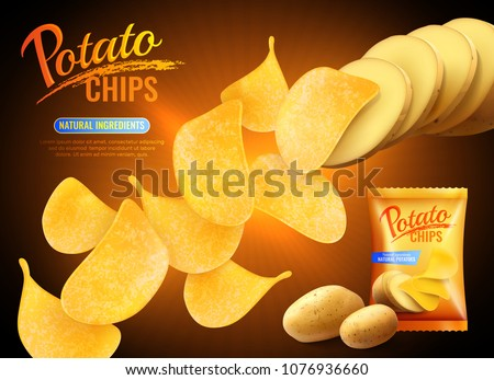 Potato chips advertising composition with realistic images of crisps natural potatoes and pack shot with text vector illustration
