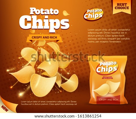 Potato chips bag, vector design of snack food advertising poster. Crunchy and salty slices of deep fried potato with foil package, decorated with sparkles, crumbs and spices