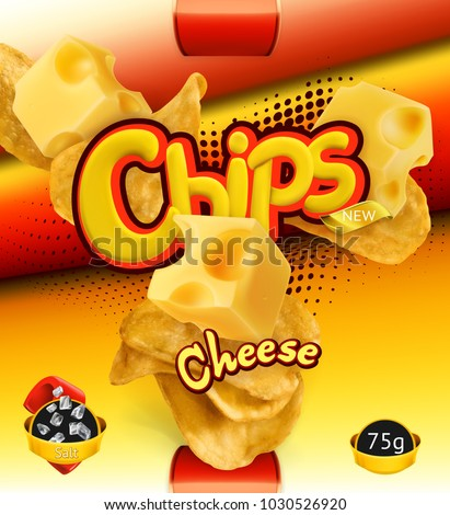 Potato chips. Cheese flavor. Design packaging, 3d vector template
