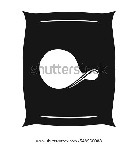 Potato chips icon in black style isolated on white background. Pub symbol stock vector illustration.