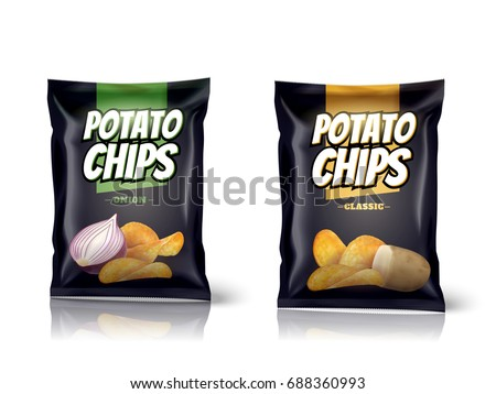 Potato chips package design, foil bags isolated on white background in 3d illustration